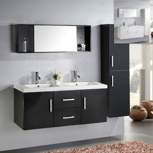 Bathroom vanity, Taiti model, 120 cm, white or black, double ceramic washbasin, 1 column cabinet and mixer faucets included