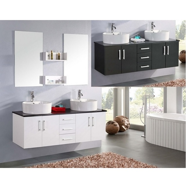 Bathroom vanity, 150 cm, with double washbasin, lacquered white or black, Diana model