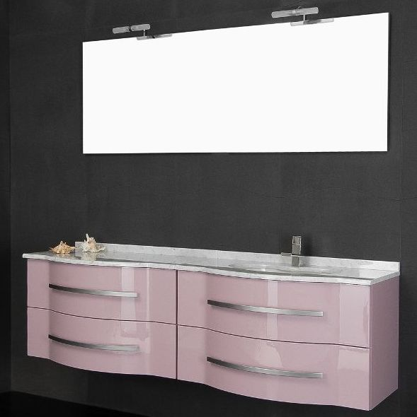 Bathroom Vanity, Argus model, 180 cm, with double washbasin, available in 20 colours