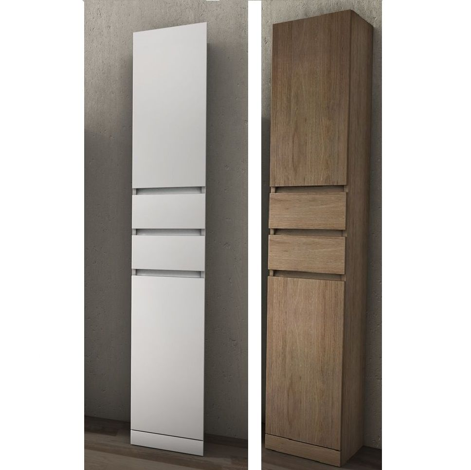 Bathroom Column Cabinet, glossy White or Tobacco, 30 x h190 x d33.5