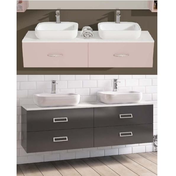 Bathroom Vanity, ICE model, 160x40 cm, with double washbasin, 2 or 4 drawers, available in 30 colours