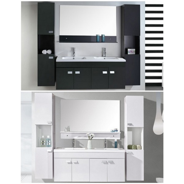 Bathroom vanity, Lady model, 120 cm, black or white, double ceramic washbasin, 2 column cabinets and mixer faucets included