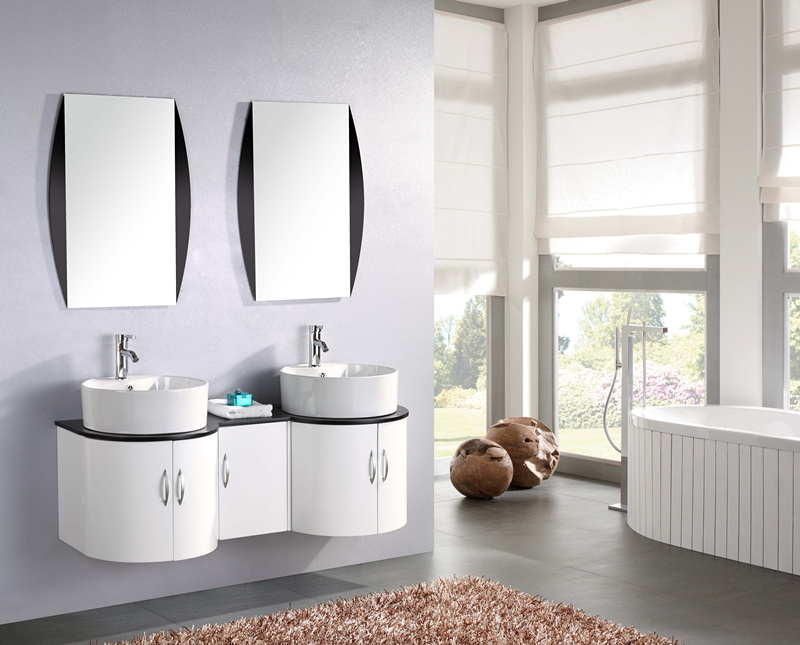 Bathroom vanity, tower model, 138 cm, white lacquered countertop washbasin, with mirror