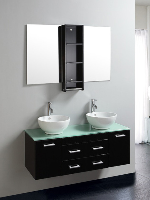 Bathroom vanity, James model, 120cm, lacquered black, with double washbasin, ON OFFER
