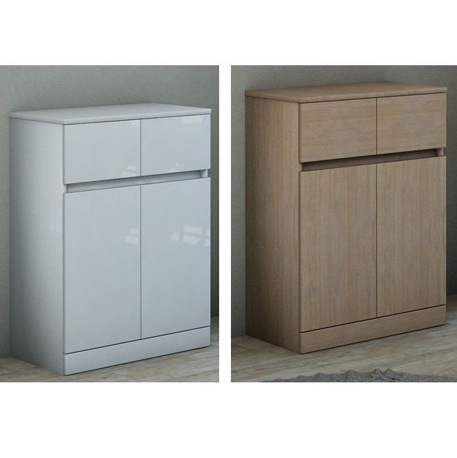 Multipurpose double base-cabinet, 60 x h81 x 33.5, lacquered, in two colours