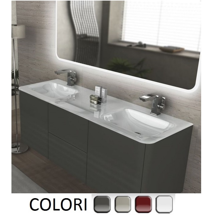 Wall-hung bathroom vanity, 140 cm, with double washbasin, available in various colours, live model