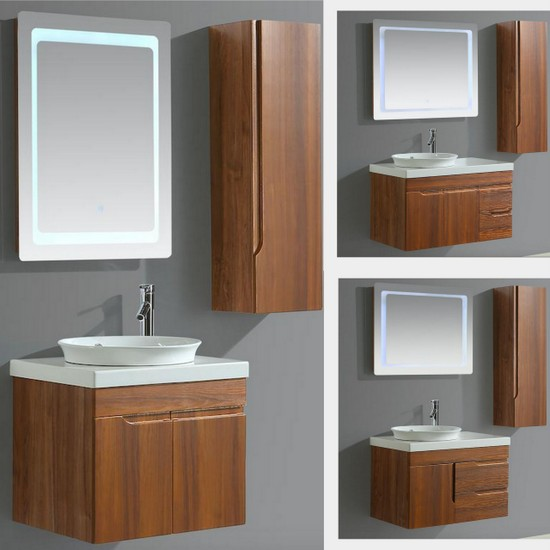 Aurora Suspended Bathroom Cabinet Available In 6 Sizes With Washbasin Mirror And Column