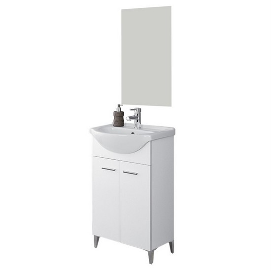 Bathroom Cabinet Cm 56 Two Doors Floor Mount With Feet Washbasin And Mirror White And Light Oak Colours Rovereto Model