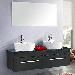Cardo bathroom cabinet 150x42 cm double black lacquered sink with 2 drawers