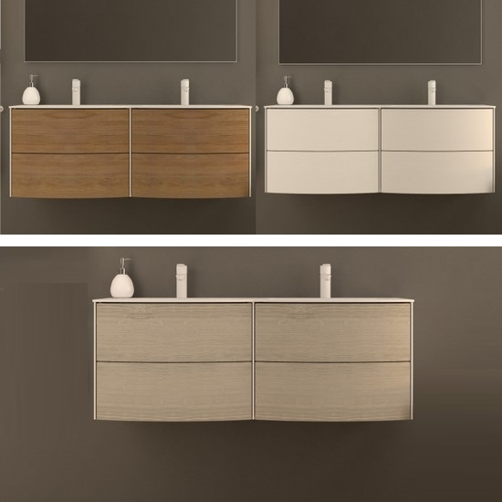 Wall-hung bathroom furniture Safari2 with double sink cm 120 with drawers in 3 colours