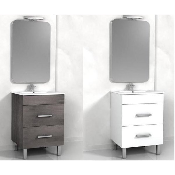 Bathroom Cabinet cm 60 two drawers and white or gray wenge legs