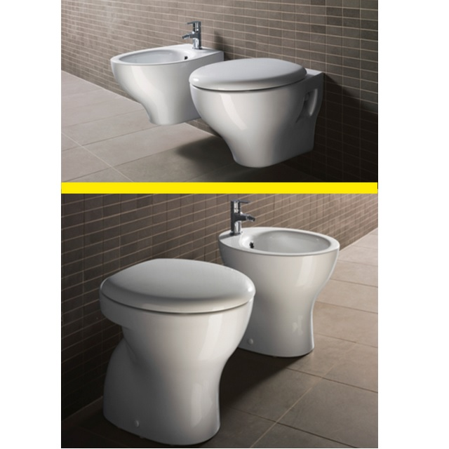 Sanitary ceramic pair GSI WC and Bidet suspended on the ground or with toilet seat