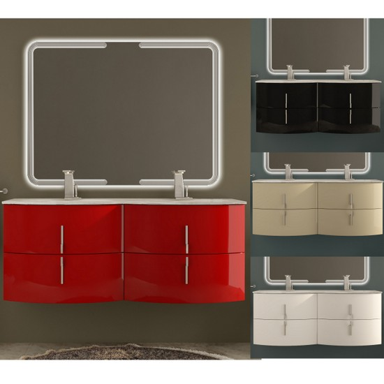 Bathroom Vanity, 138 cm, available in 4 colours. with double washbasin, Stiven model